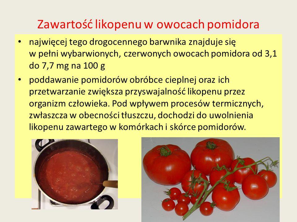 Zawartość likopenu w owocach pomidora