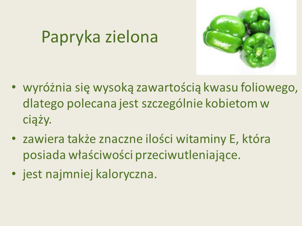Papryka zielona wyróżnia się wysoką zawartością kwasu foliowego, dlatego polecana jest szczególnie kobietom w ciąży.