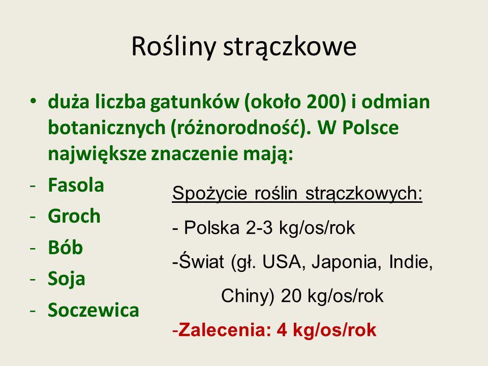 Rośliny strączkowe duża liczba gatunków (około 200) i odmian botanicznych (różnorodność). W Polsce największe znaczenie mają: