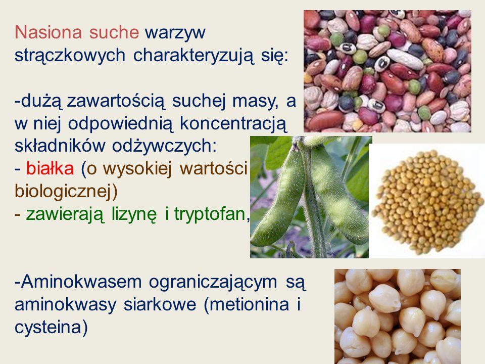 Nasiona suche warzyw strączkowych charakteryzują się:
