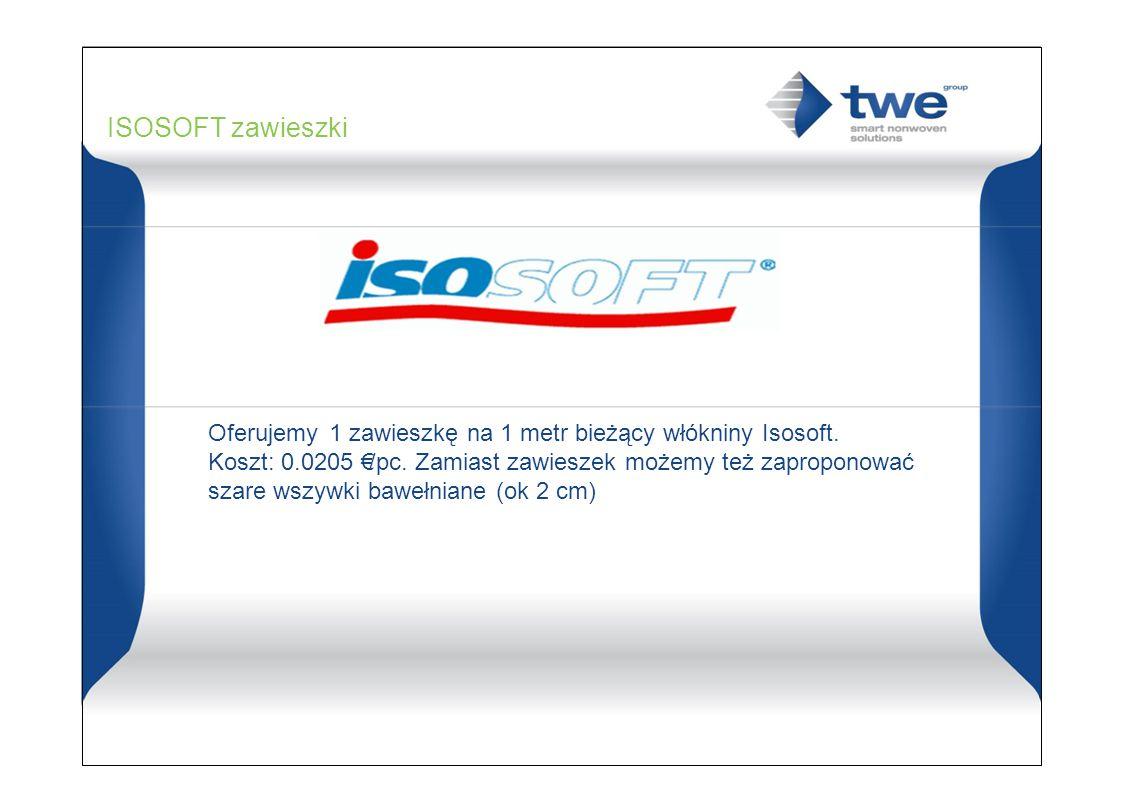 ISOSOFT zawieszki Oferujemy 1 zawieszkę na 1 metr bieżący włókniny Isosoft. Koszt: 0.0205 €/pc. Zamiast zawieszek możemy też zaproponować.