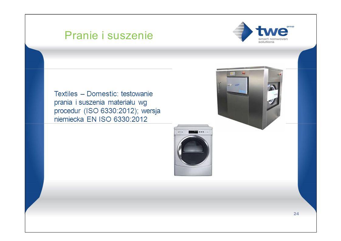 Pranie i suszenie Textiles – Domestic: testowanie prania i suszenia materiału wg procedur (ISO 6330:2012); wersja niemiecka EN ISO 6330:2012.