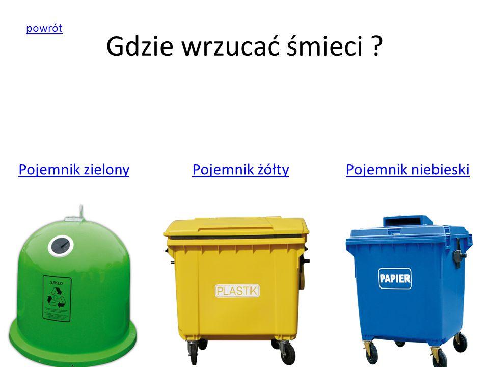 Gdzie wrzucać śmieci Pojemnik zielony Pojemnik żółty