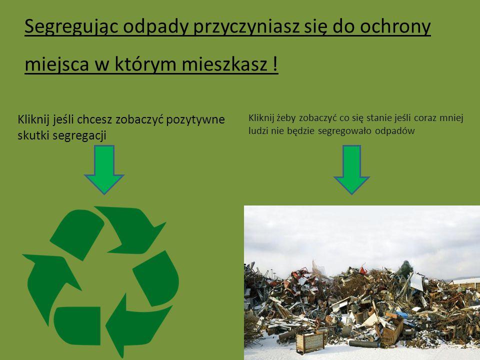 Segregując odpady przyczyniasz się do ochrony miejsca w którym mieszkasz !