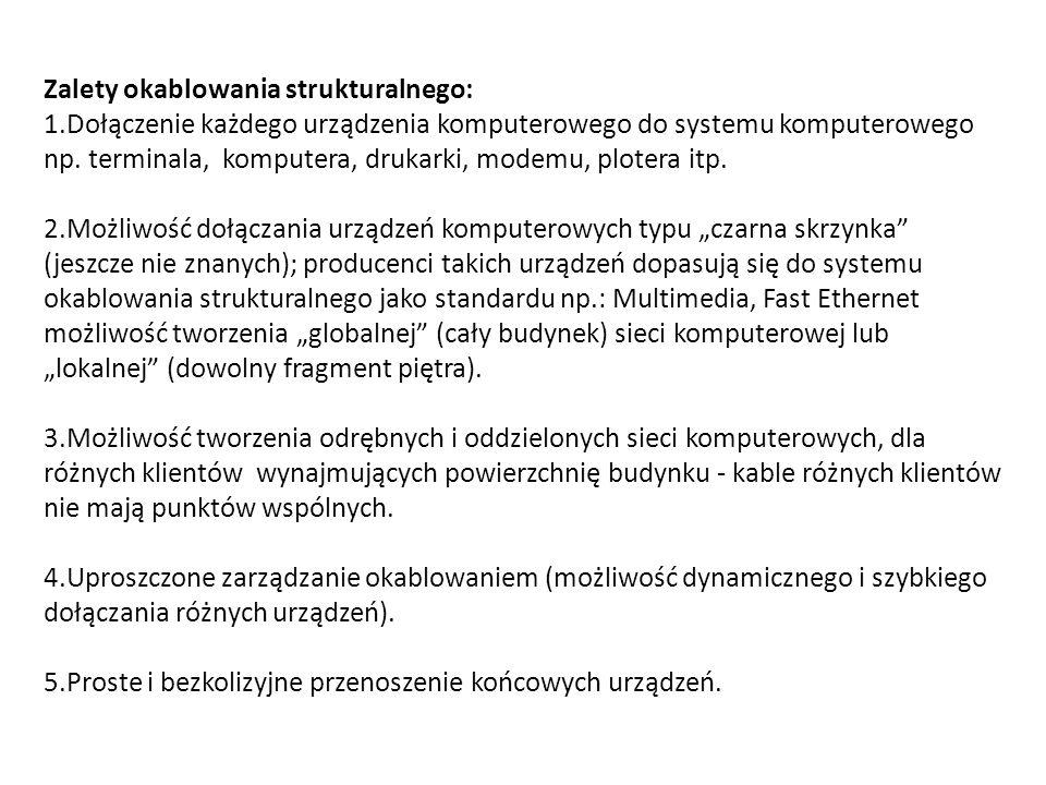 Zalety okablowania strukturalnego: