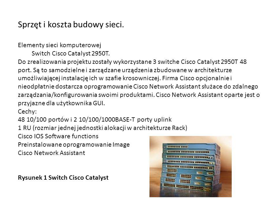 Sprzęt i koszta budowy sieci.
