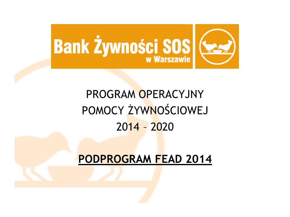 PROGRAM OPERACYJNY POMOCY ŻYWNOŚCIOWEJ 2014 – 2020