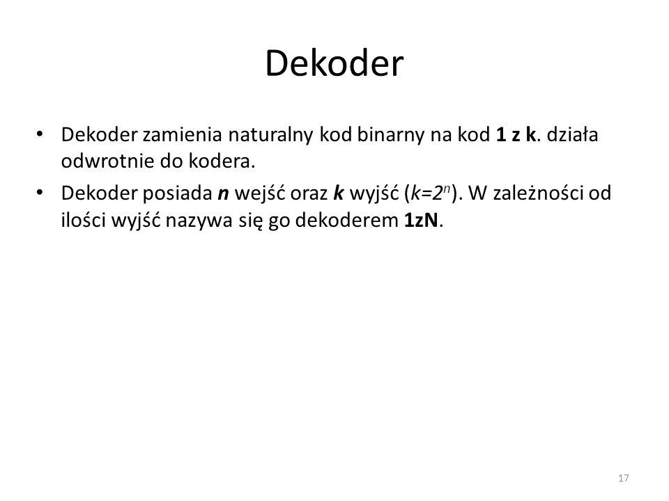 Dekoder Dekoder zamienia naturalny kod binarny na kod 1 z k. działa odwrotnie do kodera.