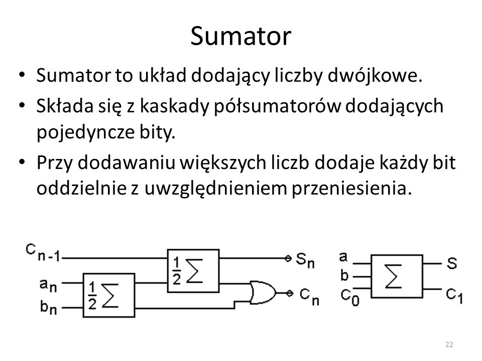 Sumator Sumator to układ dodający liczby dwójkowe.