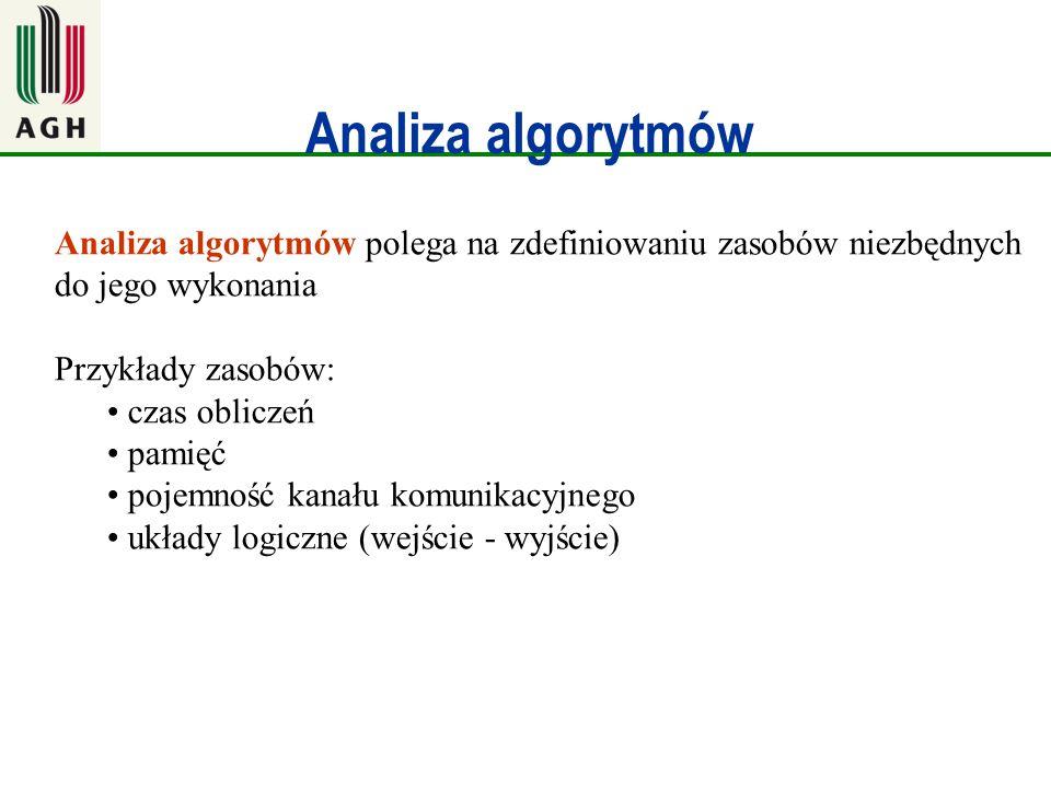 Analiza algorytmów Analiza algorytmów polega na zdefiniowaniu zasobów niezbędnych do jego wykonania.