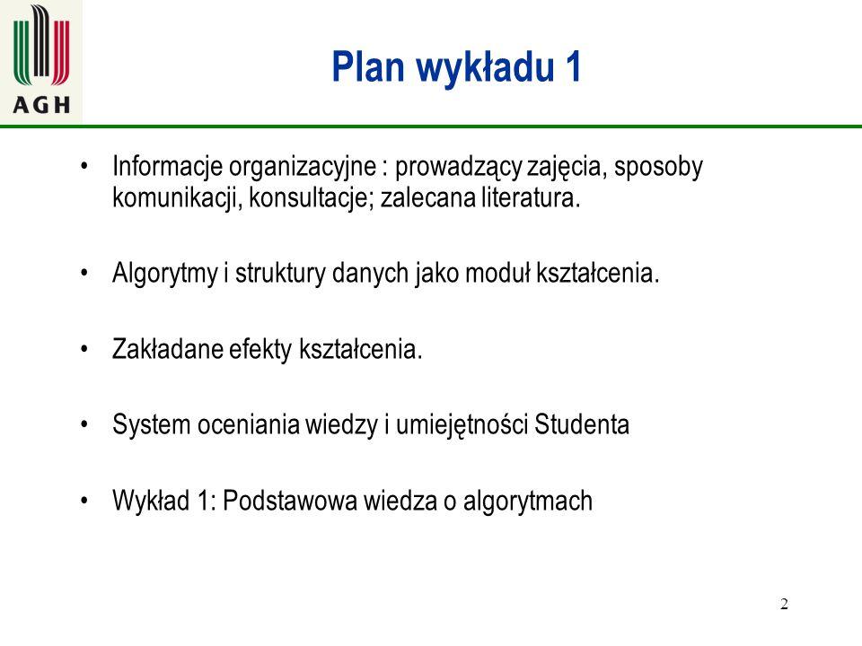 Plan wykładu 1 Informacje organizacyjne : prowadzący zajęcia, sposoby komunikacji, konsultacje; zalecana literatura.