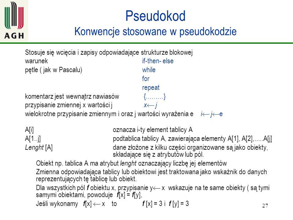 Pseudokod Konwencje stosowane w pseudokodzie
