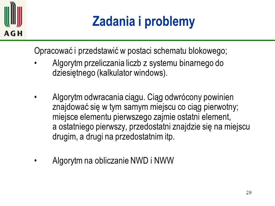 Zadania i problemy Opracować i przedstawić w postaci schematu blokowego;