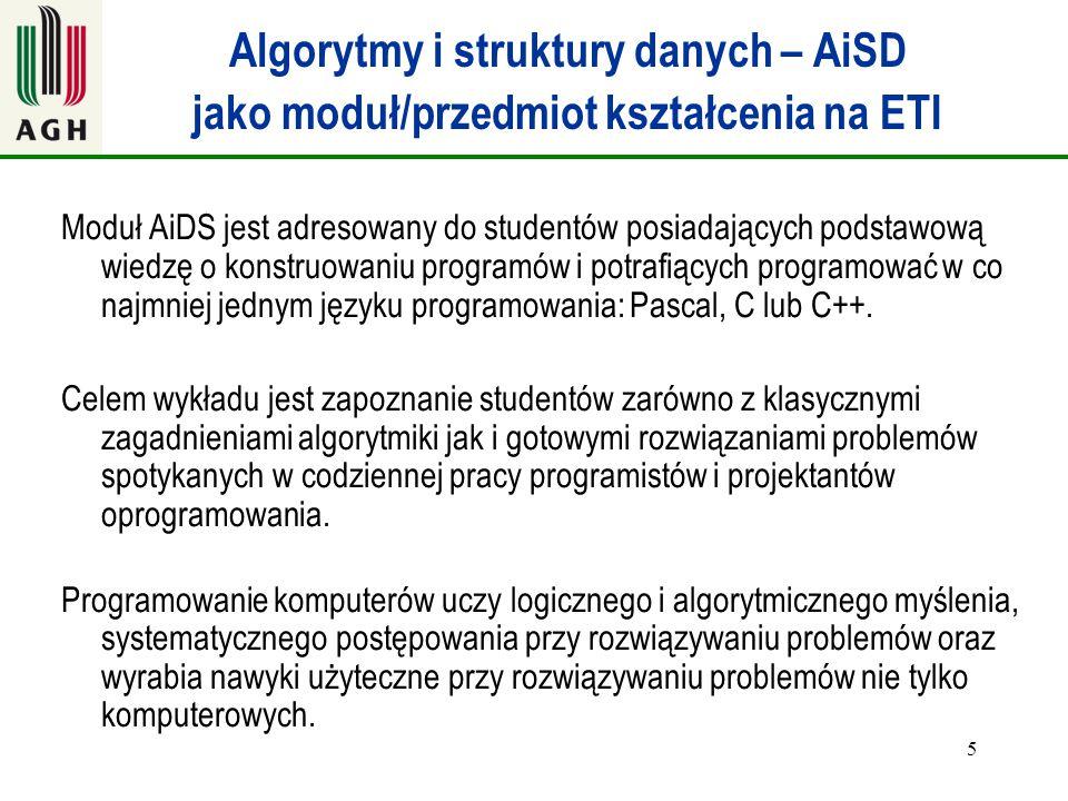 Algorytmy i struktury danych – AiSD jako moduł/przedmiot kształcenia na ETI