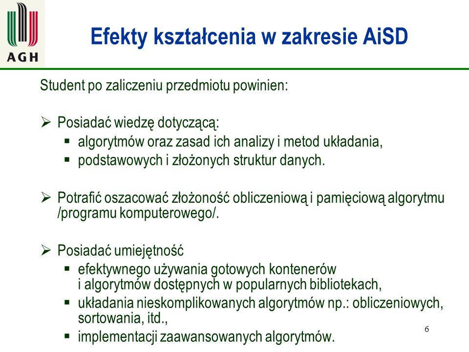 Efekty kształcenia w zakresie AiSD