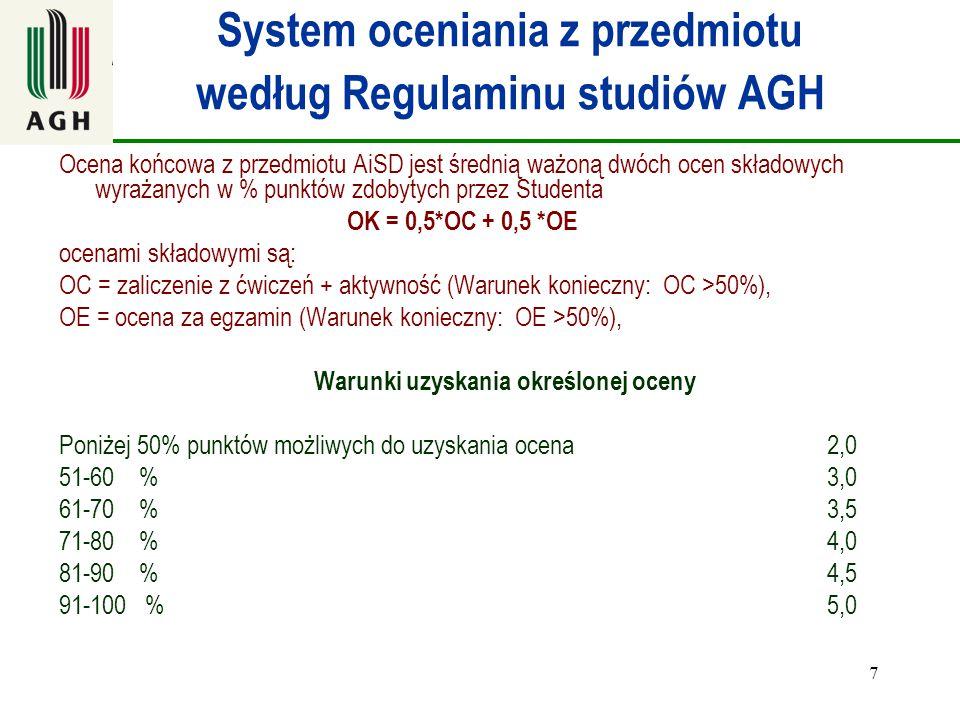 System oceniania z przedmiotu według Regulaminu studiów AGH