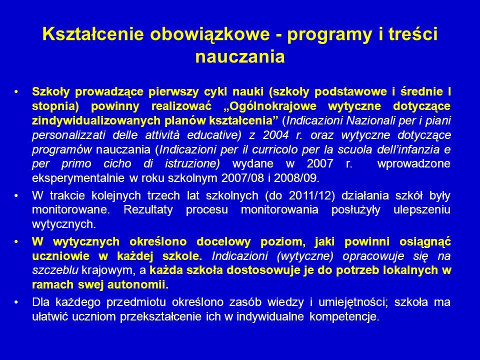 Kształcenie obowiązkowe - programy i treści nauczania