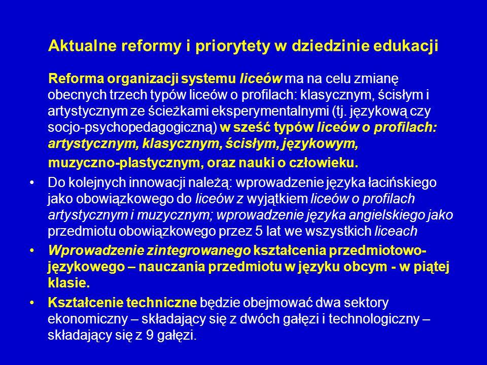 Aktualne reformy i priorytety w dziedzinie edukacji