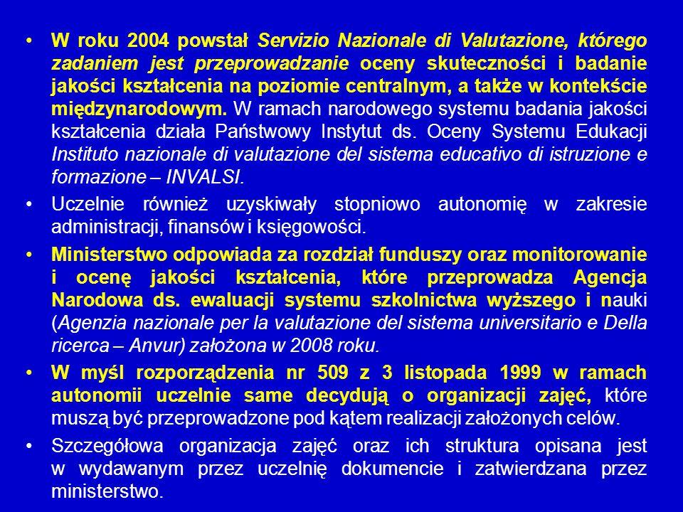 W roku 2004 powstał Servizio Nazionale di Valutazione, którego zadaniem jest przeprowadzanie oceny skuteczności i badanie jakości kształcenia na poziomie centralnym, a także w kontekście międzynarodowym. W ramach narodowego systemu badania jakości kształcenia działa Państwowy Instytut ds. Oceny Systemu Edukacji Instituto nazionale di valutazione del sistema educativo di istruzione e formazione – INVALSI.