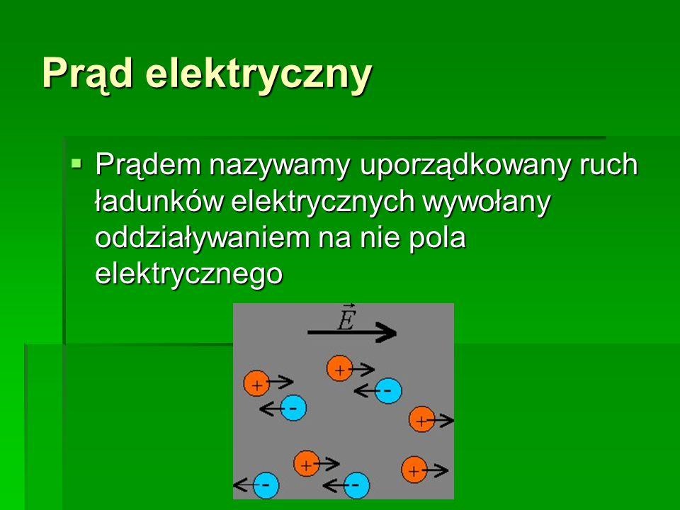 Prąd elektryczny Prądem nazywamy uporządkowany ruch ładunków elektrycznych wywołany oddziaływaniem na nie pola elektrycznego.