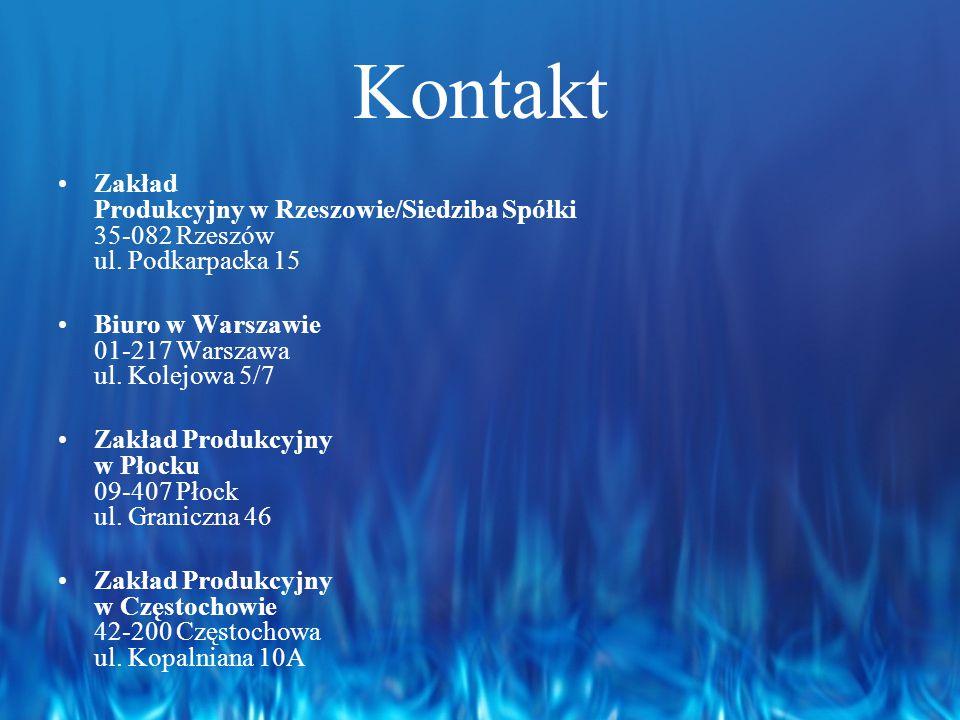 Kontakt Zakład Produkcyjny w Rzeszowie/Siedziba Spółki 35-082 Rzeszów ul. Podkarpacka 15. Biuro w Warszawie 01-217 Warszawa ul. Kolejowa 5/7.
