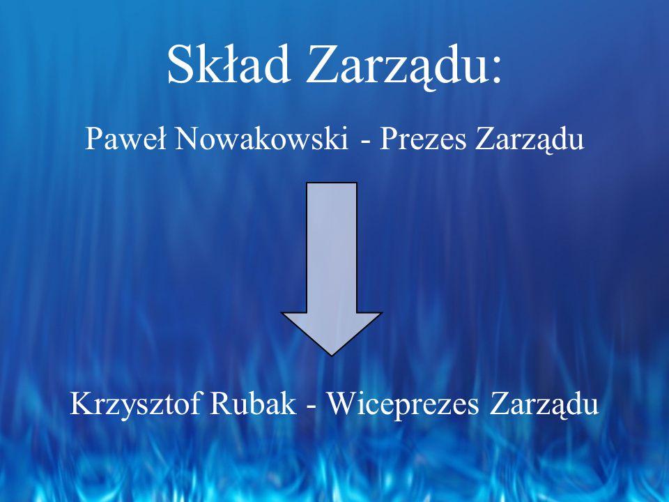 Skład Zarządu: Paweł Nowakowski - Prezes Zarządu