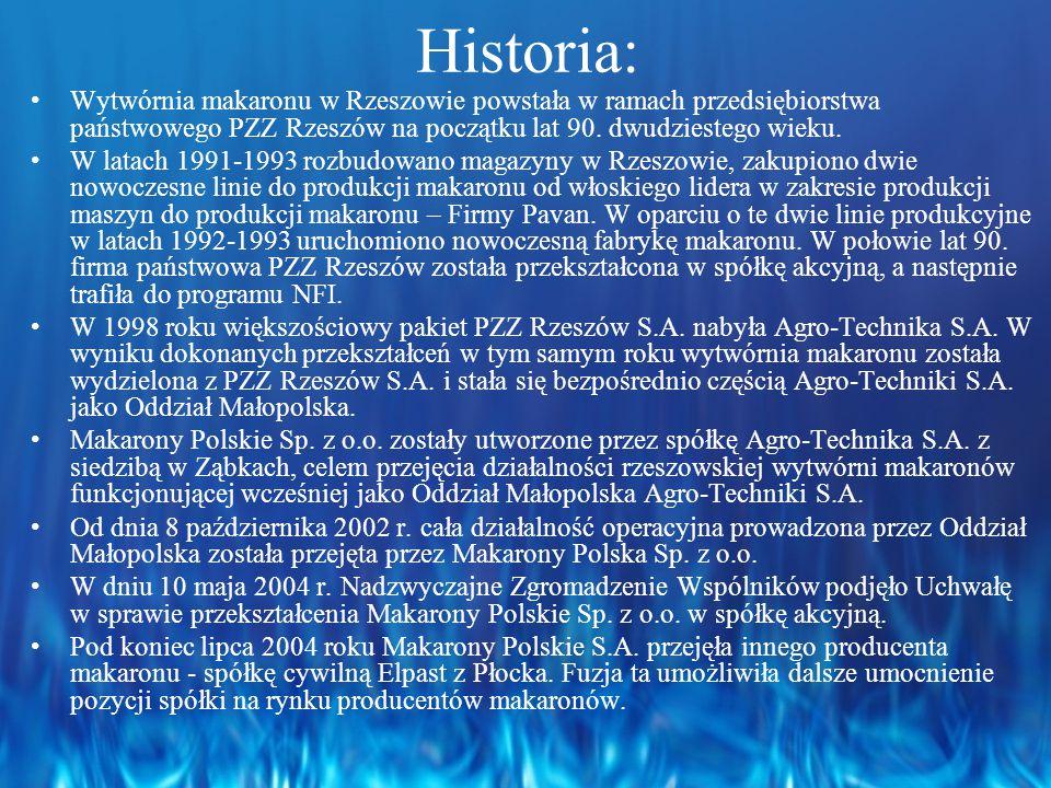 Historia: Wytwórnia makaronu w Rzeszowie powstała w ramach przedsiębiorstwa państwowego PZZ Rzeszów na początku lat 90. dwudziestego wieku.