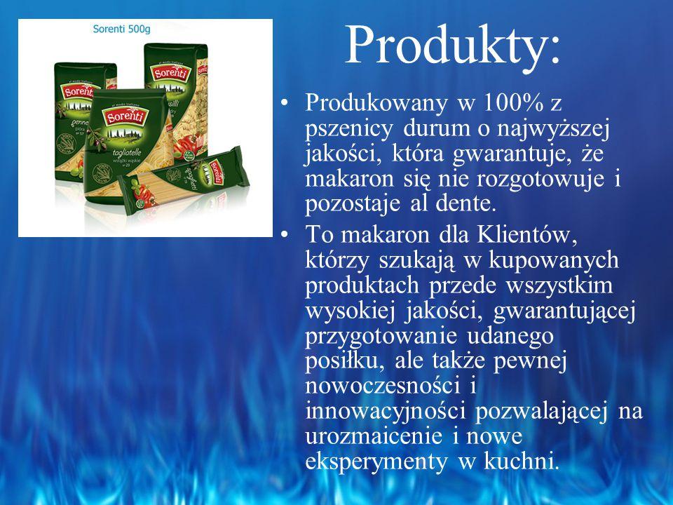 Produkty: Produkowany w 100% z pszenicy durum o najwyższej jakości, która gwarantuje, że makaron się nie rozgotowuje i pozostaje al dente.