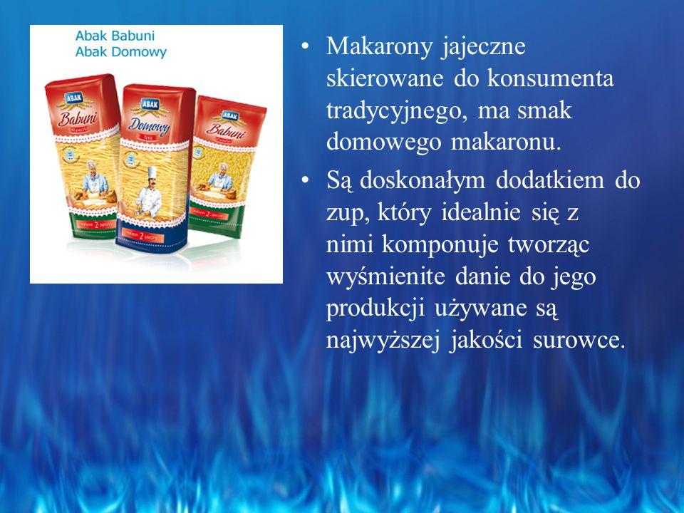 Makarony jajeczne skierowane do konsumenta tradycyjnego, ma smak domowego makaronu.
