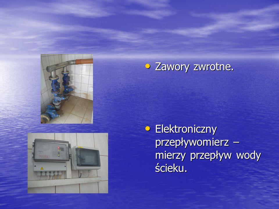 Zawory zwrotne. Elektroniczny przepływomierz –mierzy przepływ wody ścieku.