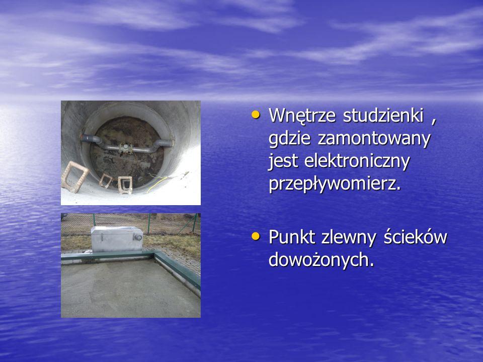 Wnętrze studzienki , gdzie zamontowany jest elektroniczny przepływomierz.