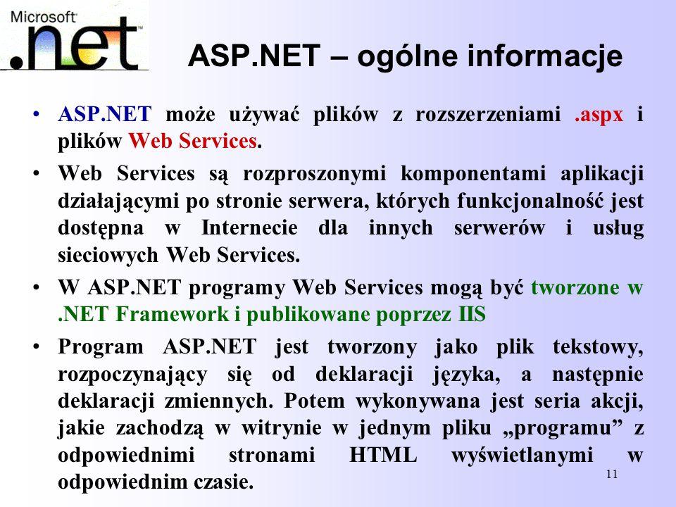 ASP.NET – ogólne informacje