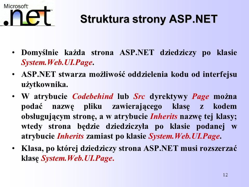 Struktura strony ASP.NET