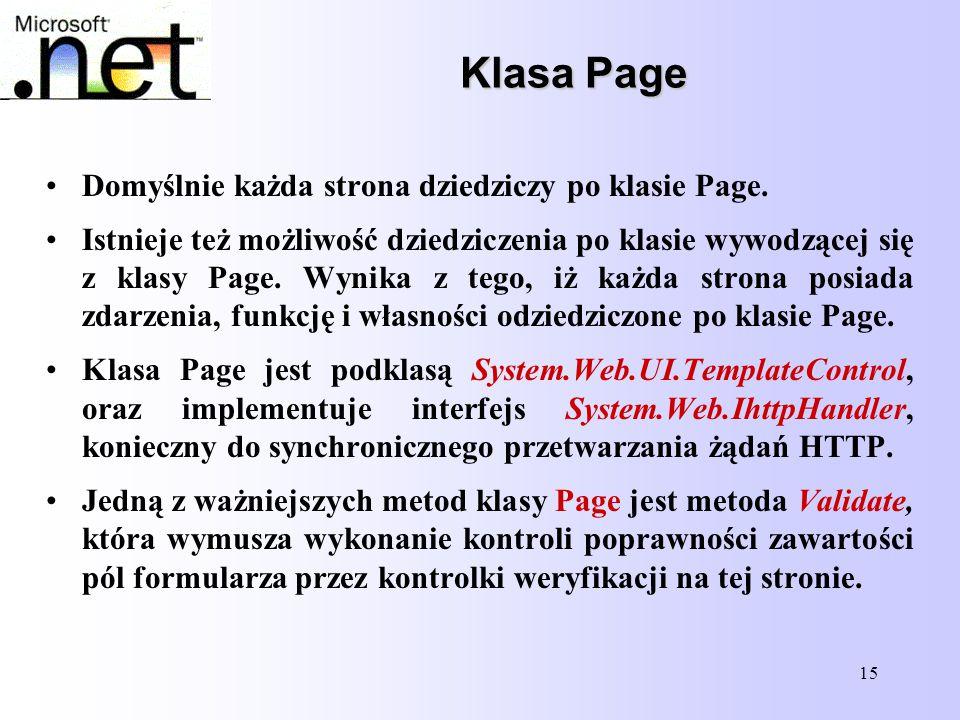 Klasa Page Domyślnie każda strona dziedziczy po klasie Page.