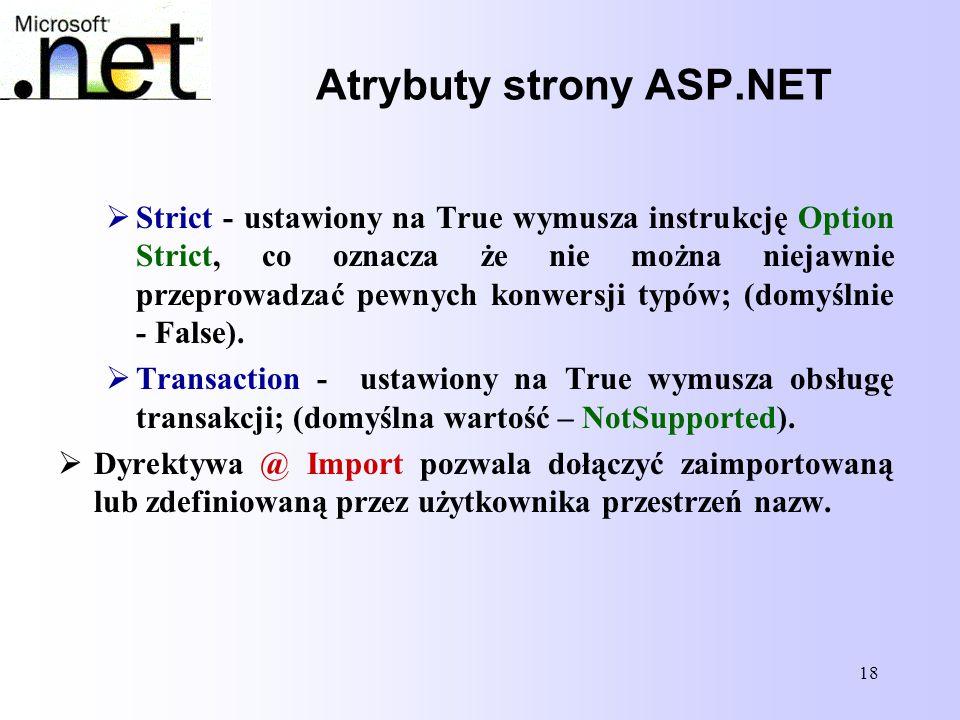 Atrybuty strony ASP.NET