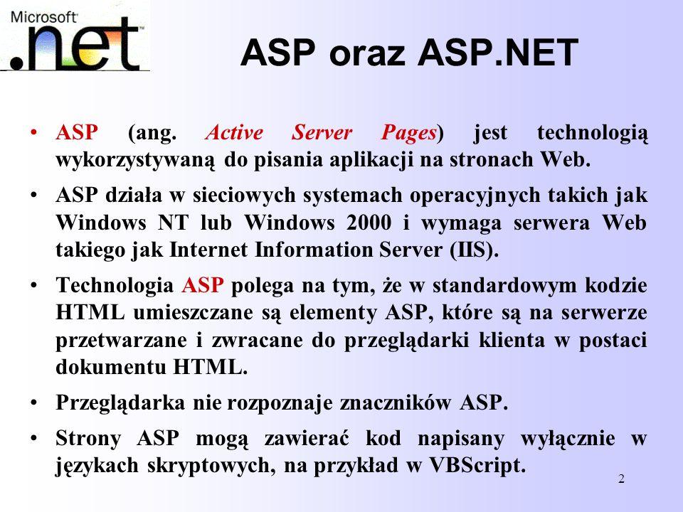 ASP oraz ASP.NET ASP (ang. Active Server Pages) jest technologią wykorzystywaną do pisania aplikacji na stronach Web.