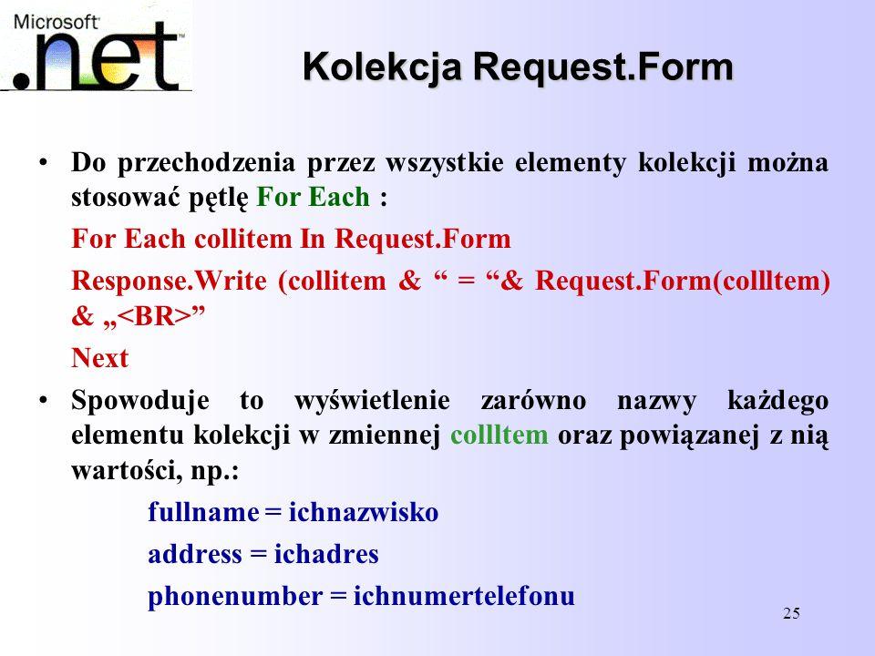 Kolekcja Request.Form Do przechodzenia przez wszystkie elementy kolekcji można stosować pętlę For Each :