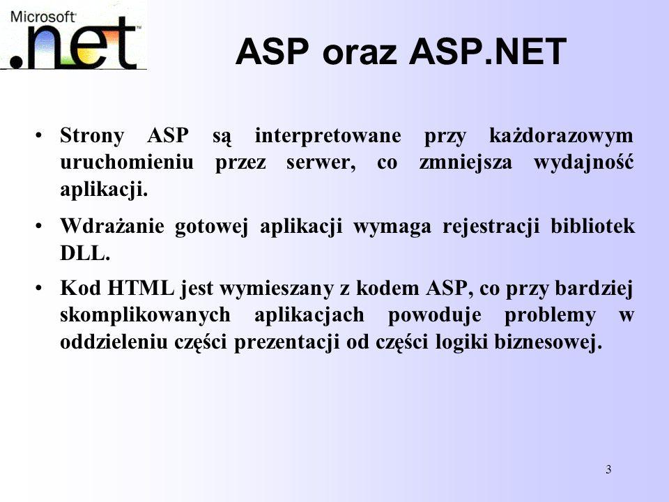 ASP oraz ASP.NET Strony ASP są interpretowane przy każdorazowym uruchomieniu przez serwer, co zmniejsza wydajność aplikacji.