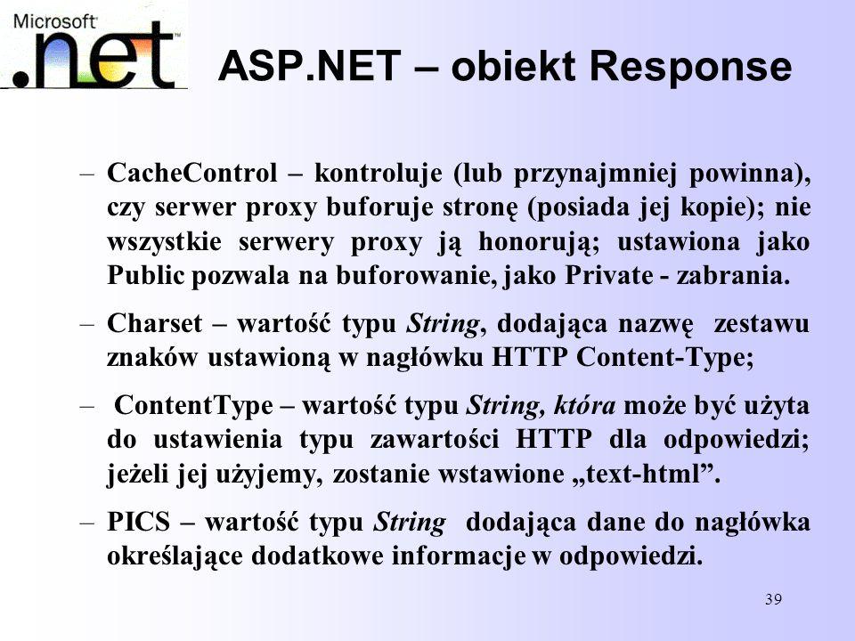 ASP.NET – obiekt Response