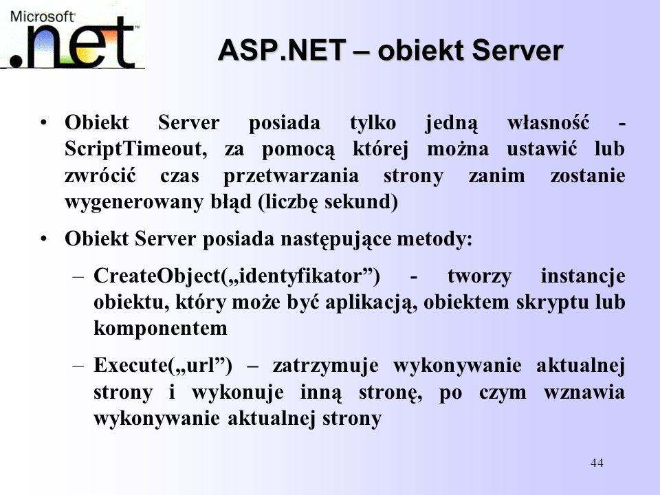 ASP.NET – obiekt Server