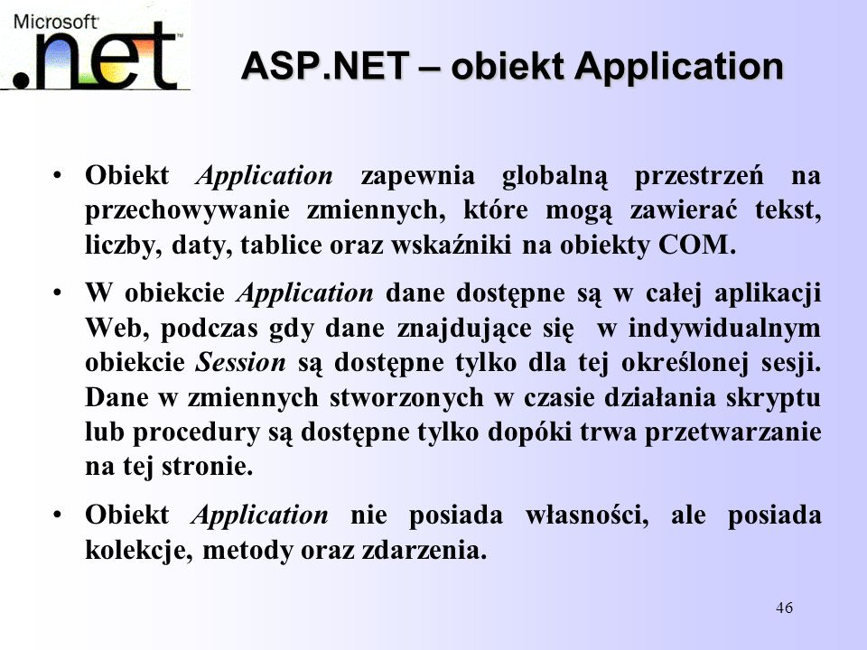 ASP.NET – obiekt Application