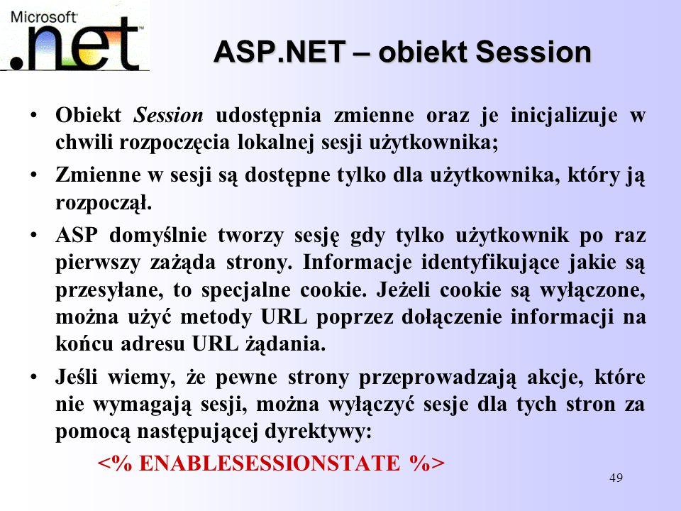 ASP.NET – obiekt Session
