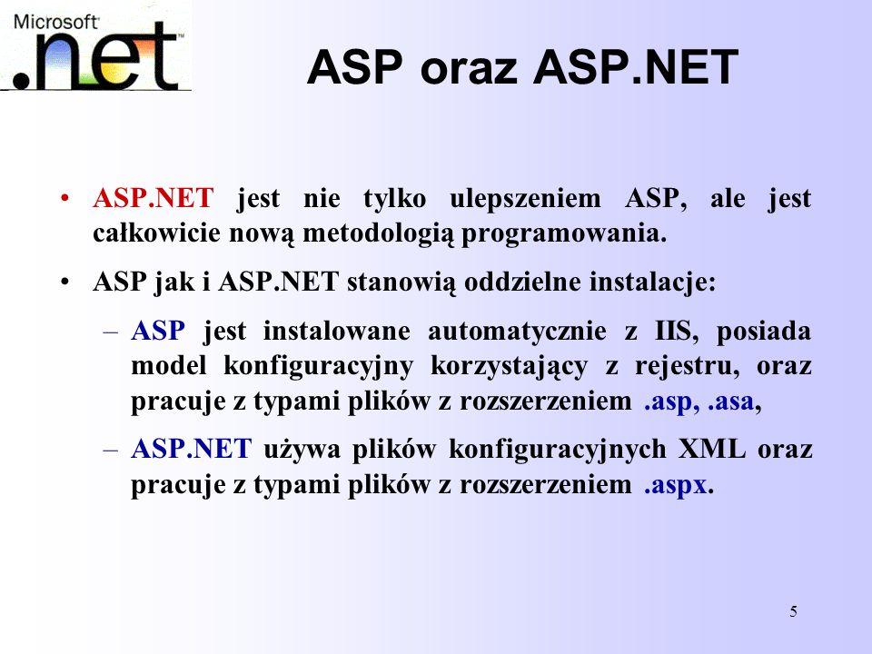 ASP oraz ASP.NET ASP.NET jest nie tylko ulepszeniem ASP, ale jest całkowicie nową metodologią programowania.