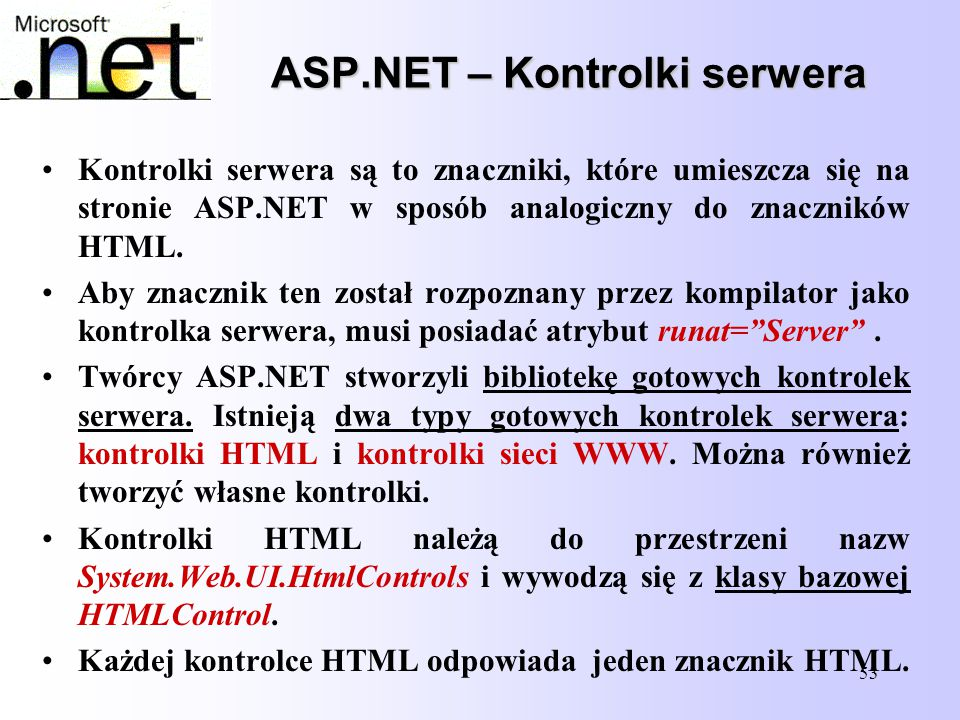 ASP.NET – Kontrolki serwera