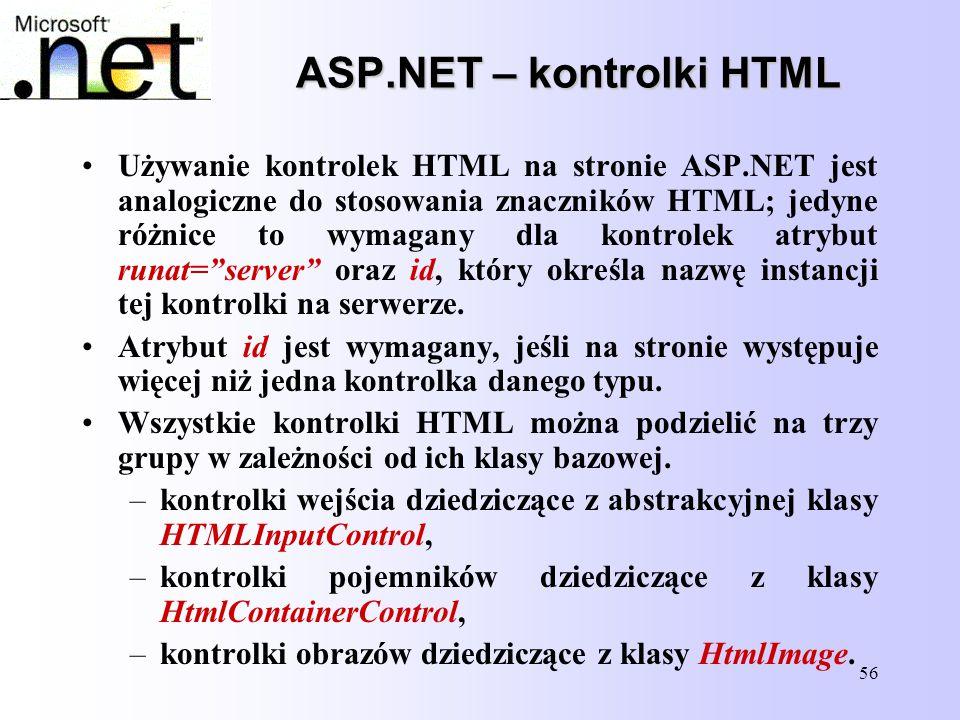 ASP.NET – kontrolki HTML