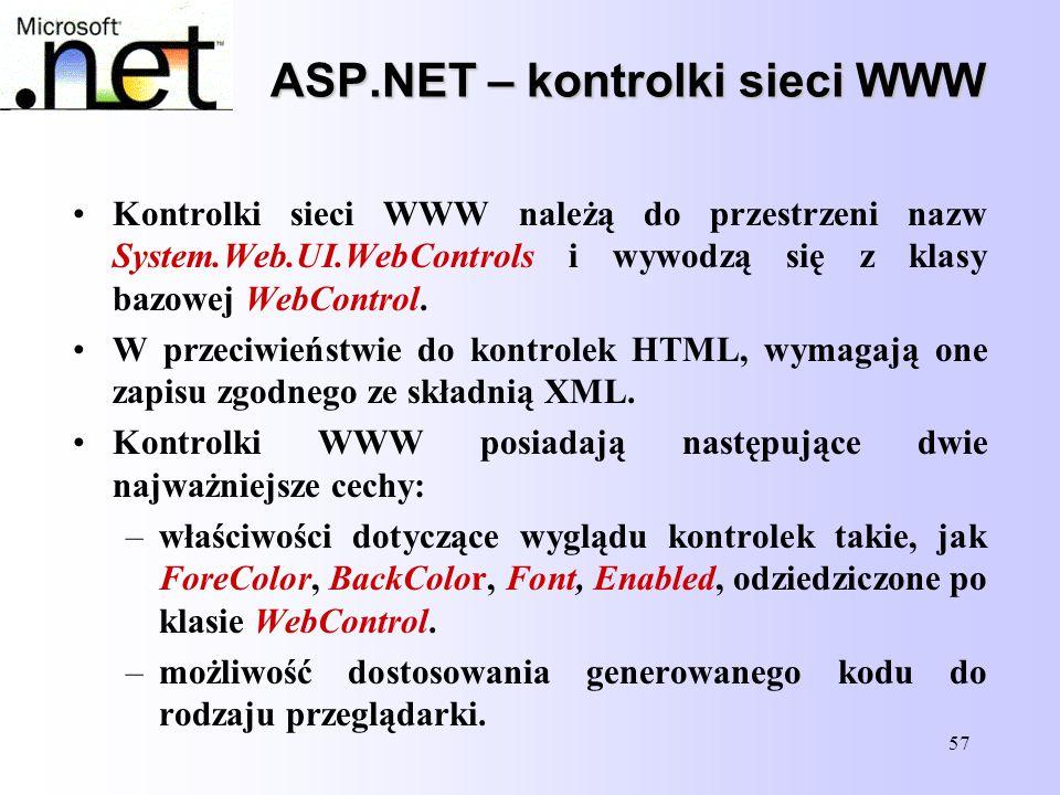 ASP.NET – kontrolki sieci WWW
