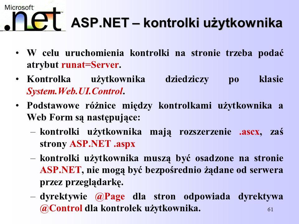 ASP.NET – kontrolki użytkownika