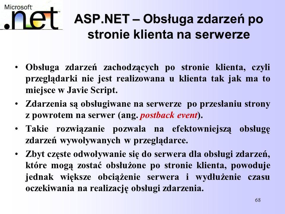 ASP.NET – Obsługa zdarzeń po stronie klienta na serwerze
