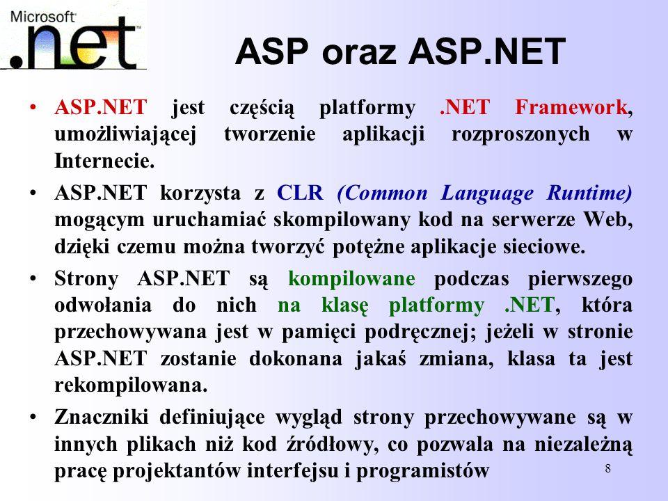 ASP oraz ASP.NET ASP.NET jest częścią platformy .NET Framework, umożliwiającej tworzenie aplikacji rozproszonych w Internecie.