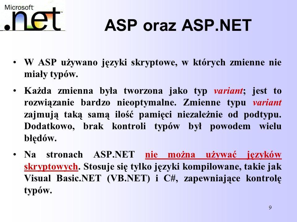 ASP oraz ASP.NET W ASP używano języki skryptowe, w których zmienne nie miały typów.